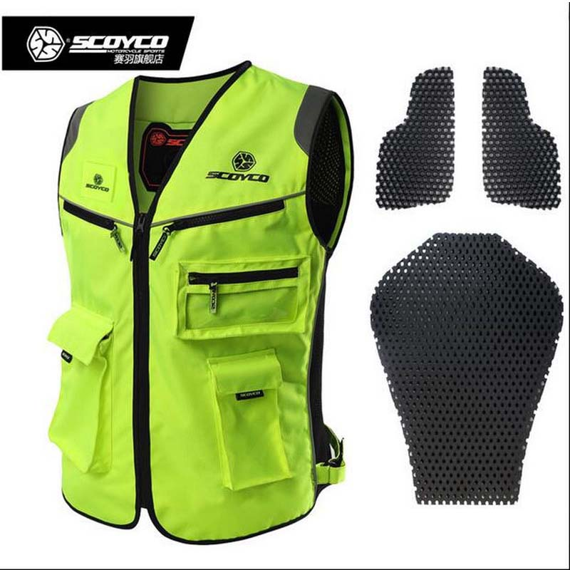 2017 summer New Knight safety protect suit clothing jacket SCOYCO reflective vest with Protector Fluorescent green JK30 upgrade 2016 real top fashion safety construction reflective vest more than a single fluorescent green lattice safety vest zip pocket