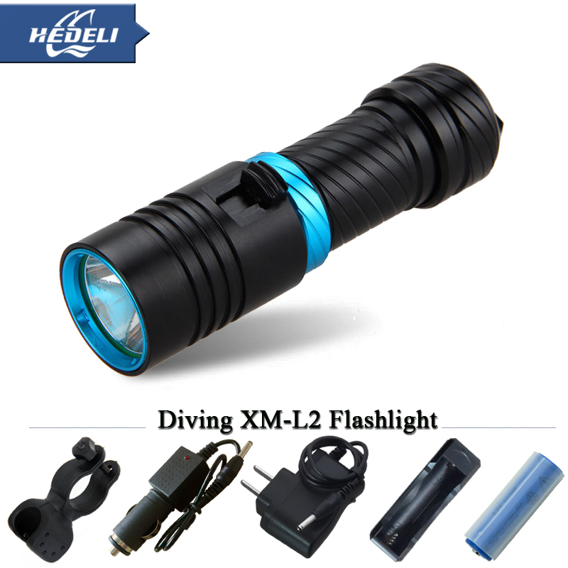 Deep-sea diving flashlight lanterna strong light waterproof camping fishing special LED flashlight 18650 or 26650 3800 lumen