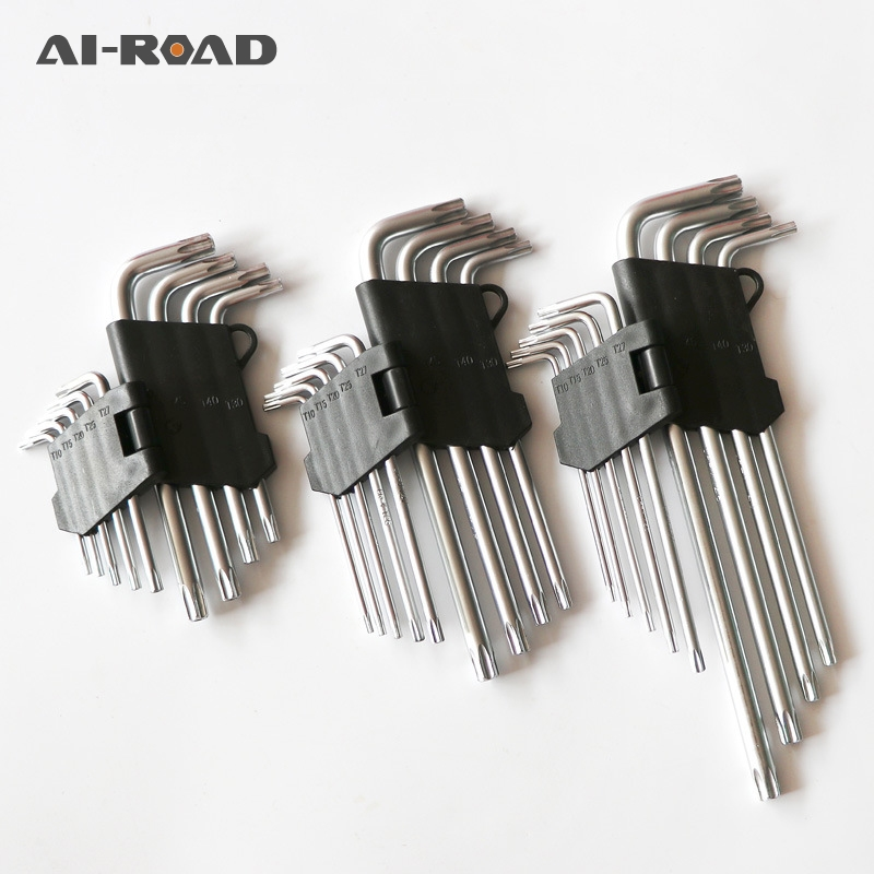 9Pcs L Type Screwdriver Double End Hex Wrench Set Allen Key Hexagon Torx Star Spanner Key Set Hand Tools Free Shipping Hot|Wrench| |  - title=