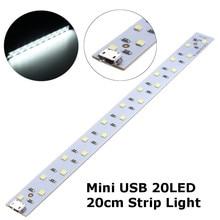 White Light 20CM Mini Portable USB 20 LED Strip Light Bar Rechargeable Lamp Decoration Studio String Night Light DC5V
