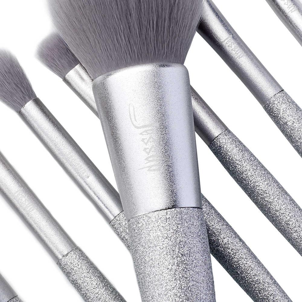 Jessup Nouveau 8 pièces Fête Brillant Argent brosse fondation brosses cheveux Synthétiques Poudre Fard À Joues Fard À Paupières brosse Maquillage brosse ensemble