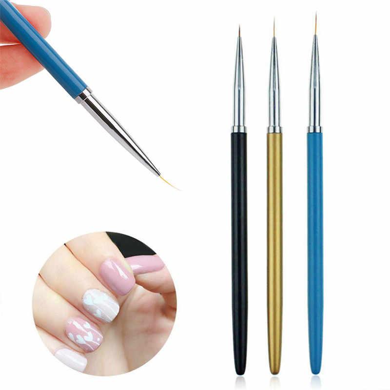3 יחידות/1 pc מקצועי נייל מברשות DIY נייל אמנות ציור אוניית פיזור עט ציור פס נייל אמנות מברשות סט מנקדים כלי