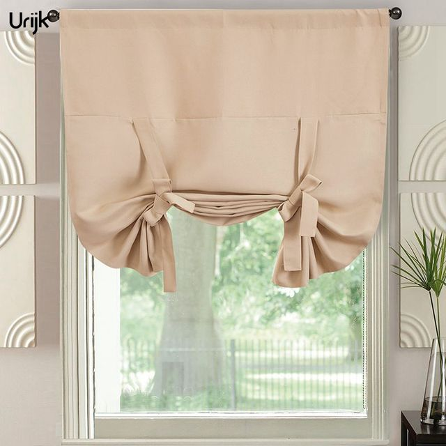Urijk 1PC Roman Curtains For Kitchen Solid Blackout Half Window Screen Sheer Panel