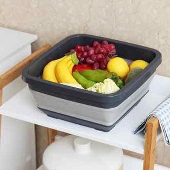 Folding Washbasin Retractable Household Wash Foam Foot Portable Thickened Kitchen Washing Basin Travel Outdoor Folding Basin - Category 🛒 Home & Garden