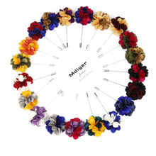 Mdiger Handmade Brooches Baquent Cloth Flower Lapel Pins Women Jewelry Mixed Color Mens Floral Brooch Corsage 10 PCS/LOT(China)
