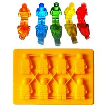Cake Moulds Lego Robot Building Bricks Silicone Ice Cube Tray Candy Chocolate Puncake Mold Baking Tools Bakeware for Summer New(China)