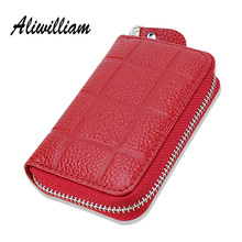 100% Genuine Leather Small Women Coin Keys Bags Candy Color Holder Zipper Mini Coins Bag + Key Ring Real Leather Men Key Bags