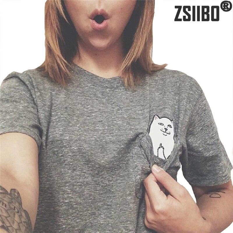 2018 Sommer Europäischen Stil Frauen T Shirt Tasche Katze Top T-stück Beiläufige Kurzarm Tops Frauen Plus Größe Frauen Kleidung Zsiibo Preisnachlass