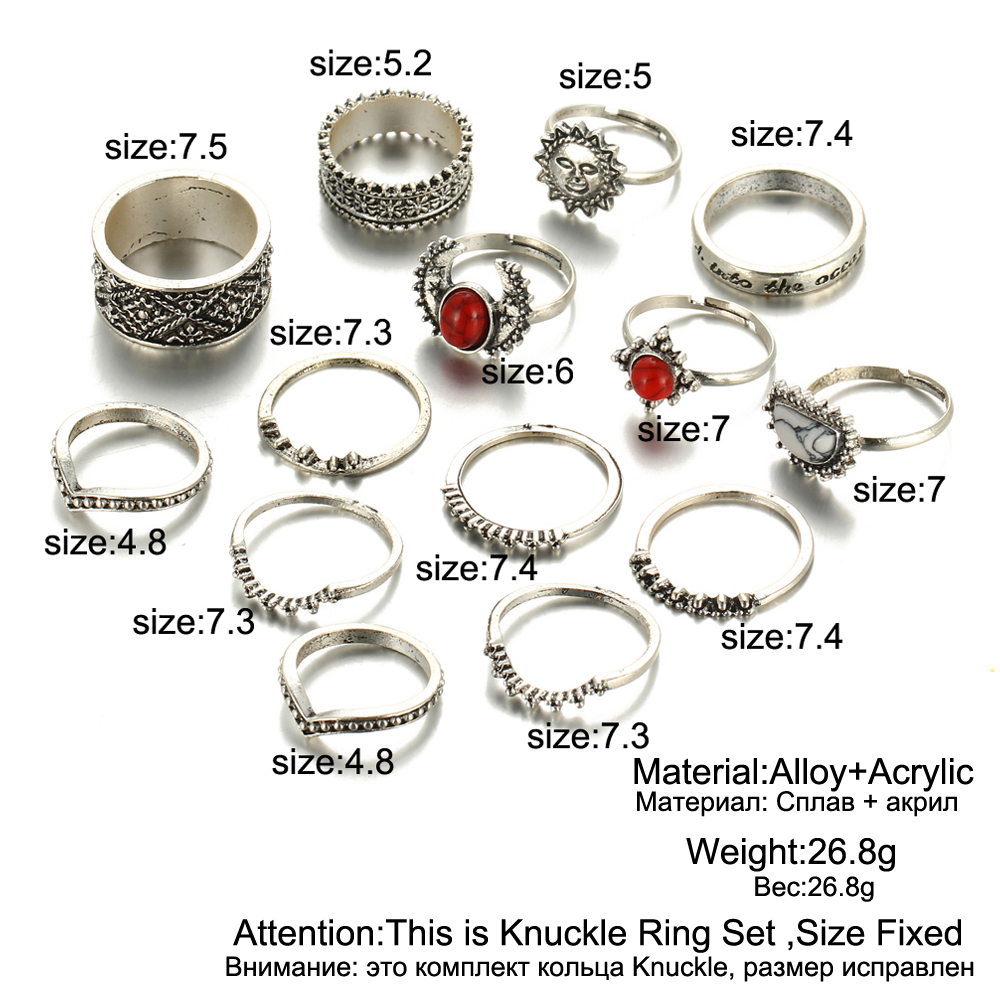 HTB1k1UMRpXXXXXsXVXXq6xXFXXXX Hip 14-Pieces Tribal Boho Vintage Silver Moon And Sun Knuckle Ring Set For Women