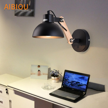 AIBIOU Ajustable Led Wall Lights For Bedroom Nordic Style E27 Black Sconce Designer Wooden Mounted Reading Light