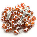 Free shipping top natural stone religious rosary 10 mm football round shape agate bead catholic rosary