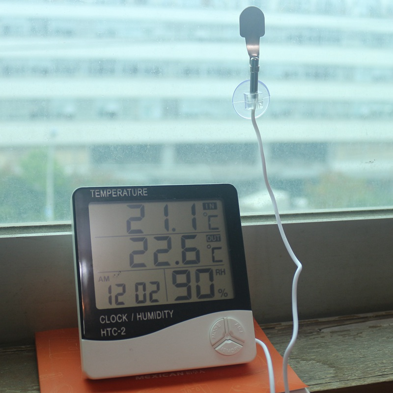 LCD Display Digital Thermometer Hygrometer HTC-2 Indoor Outdoor Tester Temperature Humidity Meter Weather Station with Sensor digtal lcd indoor outdoor tester temperature humidity meter he710 ex 2 channel thermometer hygrometer manual record 88 data hold