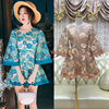Lace Floral Embroidery A Line Dress 2017 Summer Fashion 3 4 Length Flare Sleeve See Through