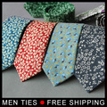 2017 new Mens Cotton Floral Printed Groomsmen Necktie Casual Groom Flower Print Shirt Male Ties 6cm Wide