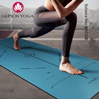 Blue Non Slip Rubber Yoga Mat with Body Alignment Lines Free Carry Bag Durable Rubber Base