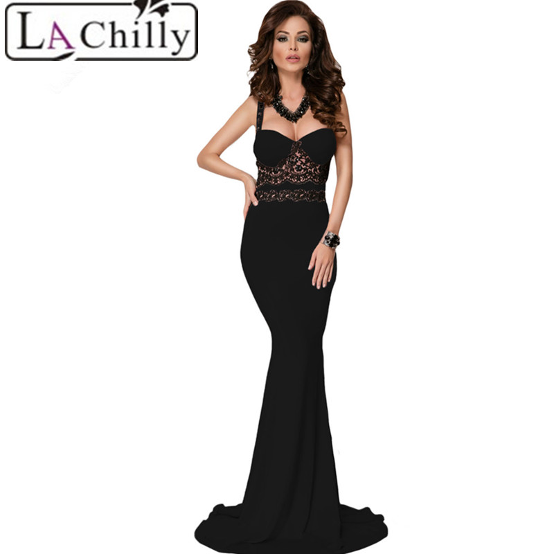 La Chilly Black Lace Detail Yellow Long Prom Party Maxi Dress with ...