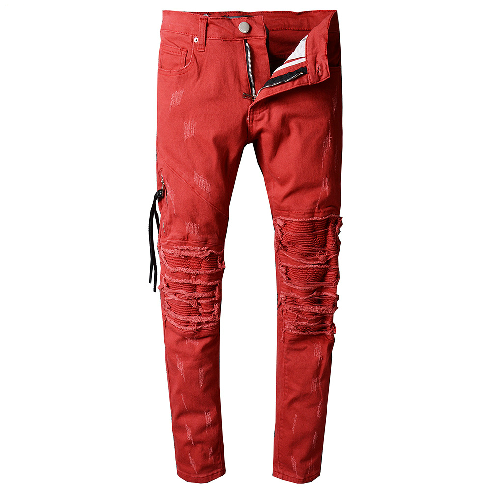 2017 new High Quality Jeans Men Fashion Red Casual Men's Classic Jeans Straight Full Length Biker Hip Hop Zipper Pocket Skinny J new fashio hip hop men jeans high street fog fear of god knee hole destroy elastic feet slim jeans gd kanye west skinny trousers