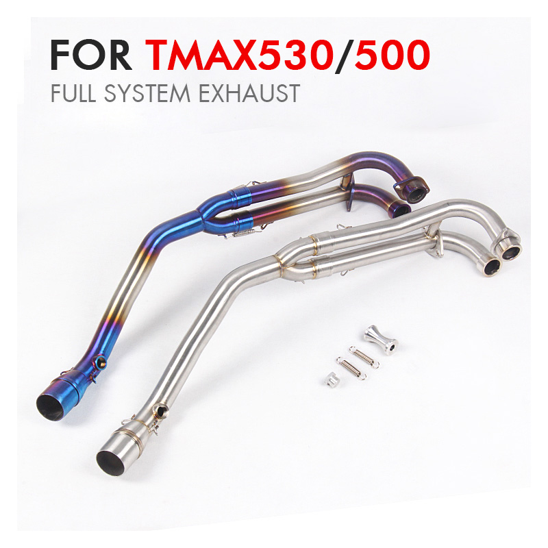 TMAX530 500 Full System 51mm Motorcycle Exhaust Muffler Pipe escape moto stainless steel Middle Link Pipe For Tmax530 tmax 500