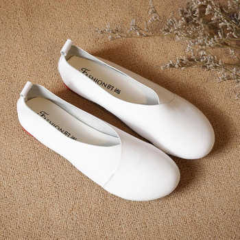 Plus size Genuine Leather Flat Shoes Woman Handmade Leather Loafers Flexible Spring Casual shoes woman Flats zapatos mujer k20
