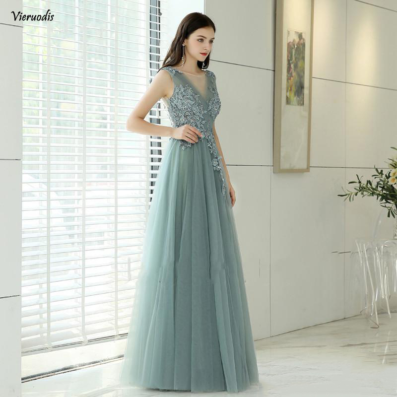 2019 Hot Sale Grey Tulle Prom Dresses Floor Length Party Gowns Deep V Neck Backless Evening Gowns Custom in Evening Dresses from Weddings Events