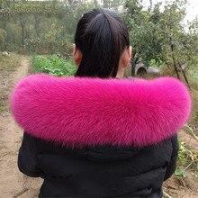 Настоящий женский натуральный Лисий мех воротник пальто капюшон меховой шарф однотонный женский воротник на заказ шарфы