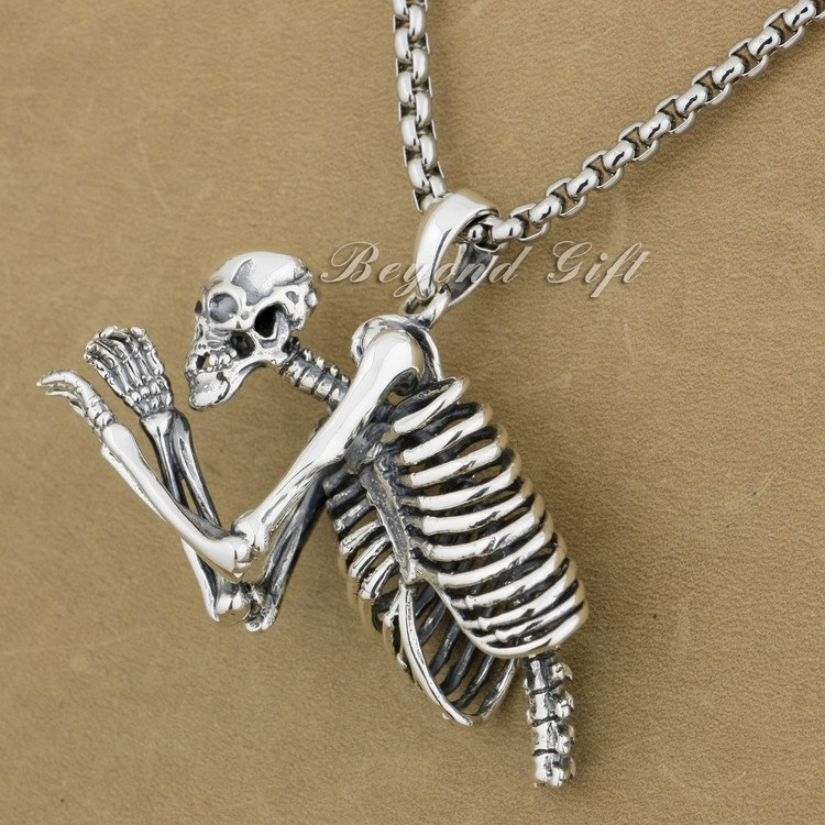 Huge Heavy 925 Sterling Silver Upper Body Skull Mens Biker Pendant 9L021A(Necklace 24inch) solid 925 sterling silver skull mens biker pendant 8c011 with matching stainless steel necklace