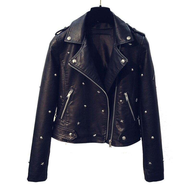 Automne Tournent Outwear 2018 Bas Le Faux Veste Pu allumette Manteau Noir Printemps Femelle Vers Tout Pour Étoiles Cuir En Femmes Nouveau Rivets Black Les BpqWS6zwxp