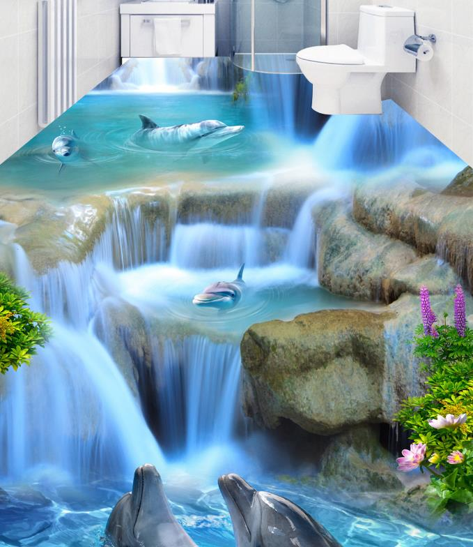 Customize Water Dolphins Wallpapers For Living Room pvc Self Adhesive Wallpaper Swimming Pool Bathroom Waterproof Floor Tiles environmentally friendly pvc inflatable shell water floating row of a variety of swimming pearl shell swimming ring