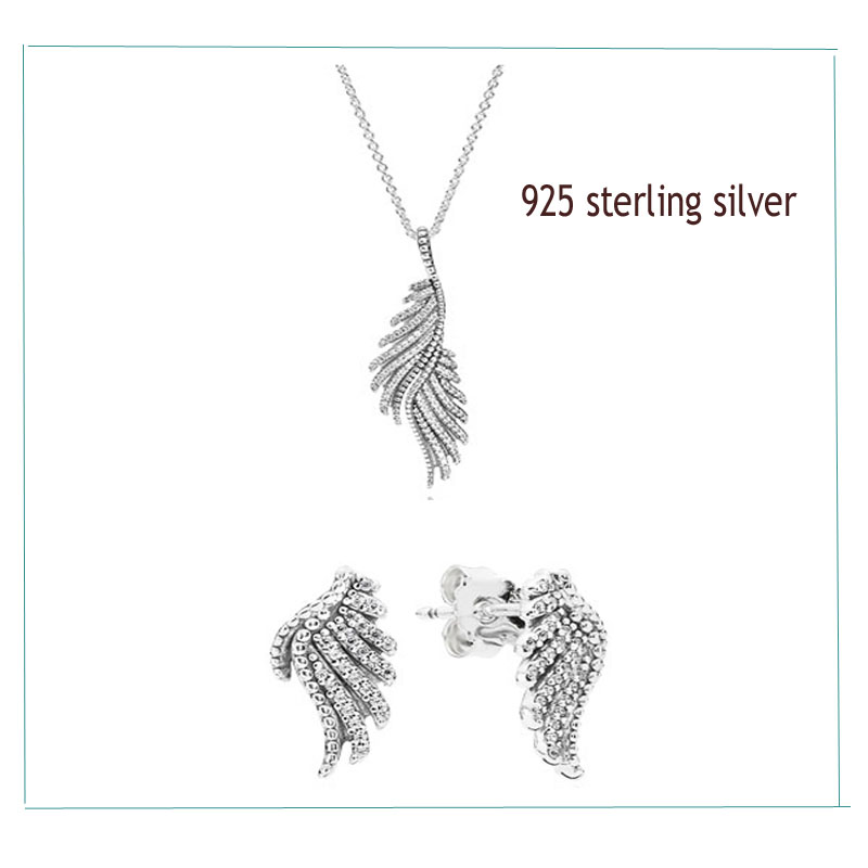 100 925 Sterling Silver Sets shiny feather necklace Ear Studs With Clear Zircon DIY High Quality