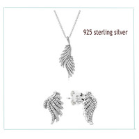 100% 925 Sterling Silver Sets Shiny Feather Necklace & Ear Studs With Clear Zircon DIY High Quality Jewelry Drop Shipping