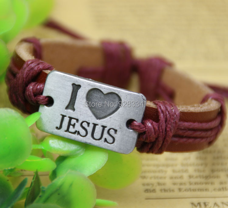Free shipping Wholesale NEW Jewelry fashion Leather Charm Bracelet Lover Gift Christian mens/women bracelets I LOVE JESUS