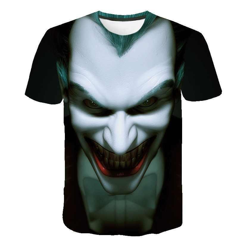 Темный рыцарь 3D Футболка с принтом Мужская джокер лицо Повседневная o-образным вырезом Мужская футболка клоун короткий рукав косплей Смешные футболки покемон