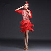 YiQuanYiMei sequins Fringes Tassel women Dresses latin dance dress Skirt Women Latin Tango Ballroom Salsa Dance