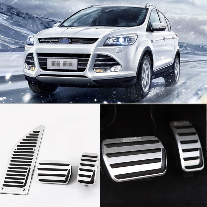 Savanini Brand New 3pcs Aluminium Non Slip Foot Rest Fuel Gas Brake Pedal Cover For Ford Kuga 2013-2017 AT car styling for bmw new 1 2 3 4 series gt f30 f31 f34 touring 320i 328i accelerator brake foot rest pedal pads non slip covers