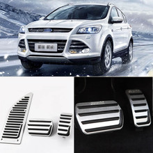 Brand New 3pcs Aluminium Non Slip Foot Rest Fuel Gas Brake Pedal Cover For Ford Kuga 2013-2017 AT