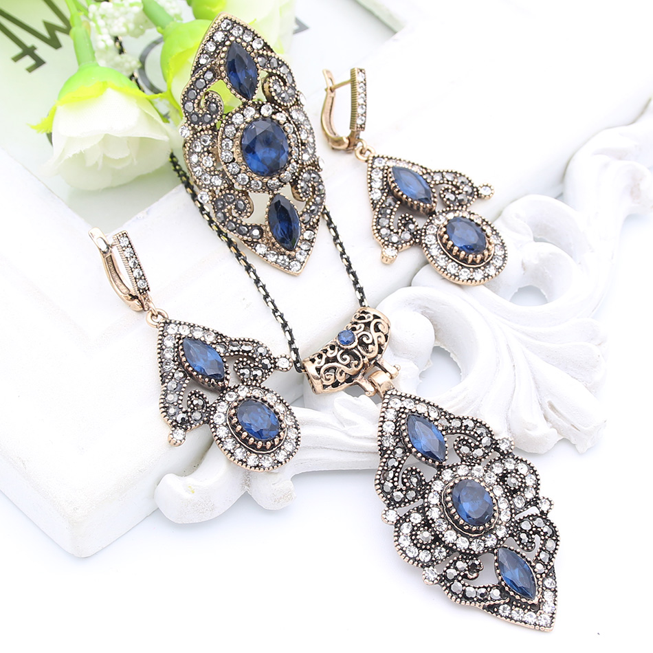 Vintage Turkish Flower Resin Jewelry Sets Long Necklace Hook Earrings Antique Gold Color Arabesque Bridal Reception Hollow Ring