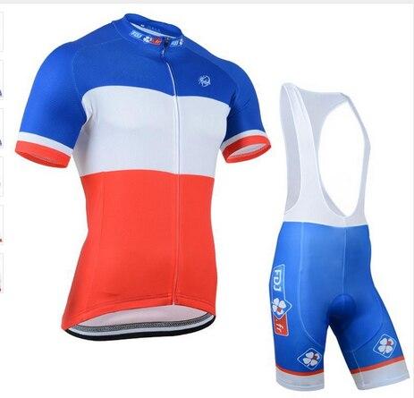 Prix pour 2016 pro FDJ vélo jersey cycling team vêtements à séchage rapide à vélo bavoirs ensemble avec gel pad vélo porter livraison gratuite