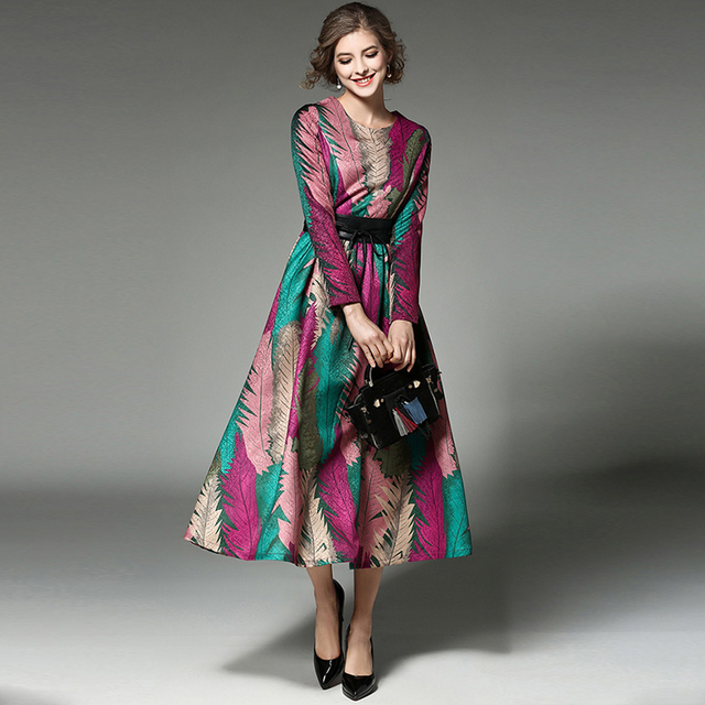 Women Floral Flower Print Evening Party Noble Long Designer Dress ...