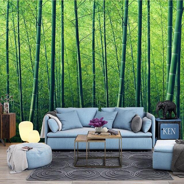 Natuurlijke landschap 3D Bamboe Bos Wallpaper slaapkamer slaapkamer ...