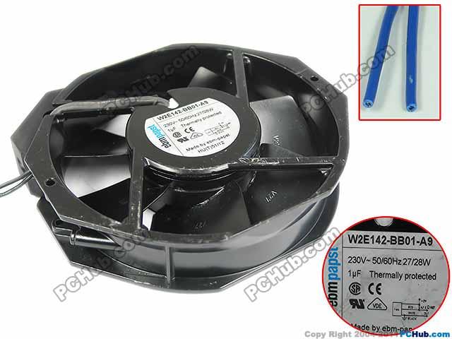 ebm-papst W2E142-BB01-A9 AC 230V 28W, 172x150x38mm 2-wire Server Blower Ffan цена