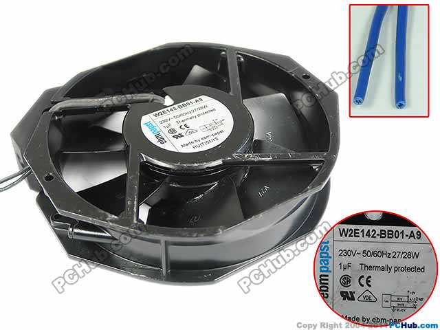 ebm-papst W2E142-BB01-A9 AC 230V 28W, 172x150x38mm 2-wire Server Blower fan ebm papst drives for parker variable frequency r2e190 af58 13 blower la466711u002