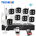 Techege 8ch 1080 p nvr wifi vigilancia kit plug and play 720 p hd 1.0mp wireless visión nocturna impermeable de seguridad sistema de circuito cerrado de televisión