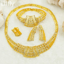 Grosir Fashion Italia Emas Hollow Kristal Perhiasan Pesona Afrika Manik-manik Perhiasan Set Kalung Anting-Anting Set Perhiasan Pernikahan(China)