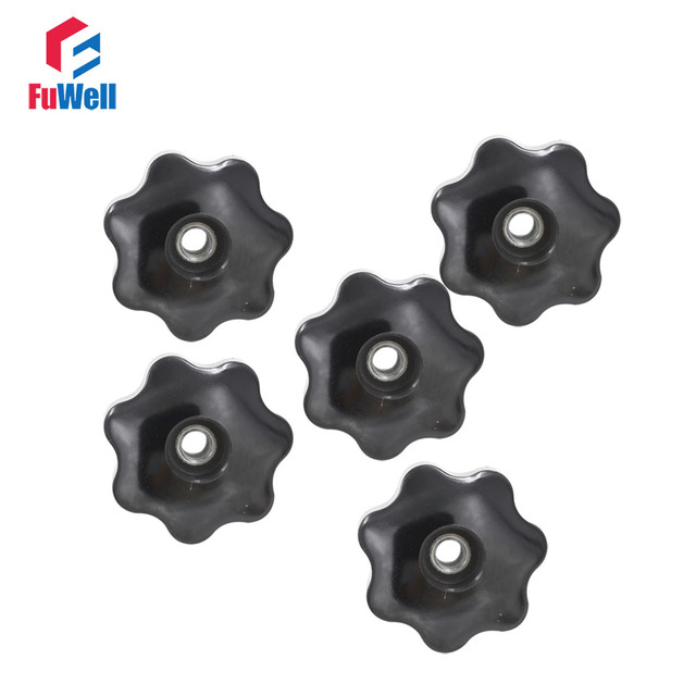 5pcs m10 x 50mm female thread nut clamping knob handles m10 thread