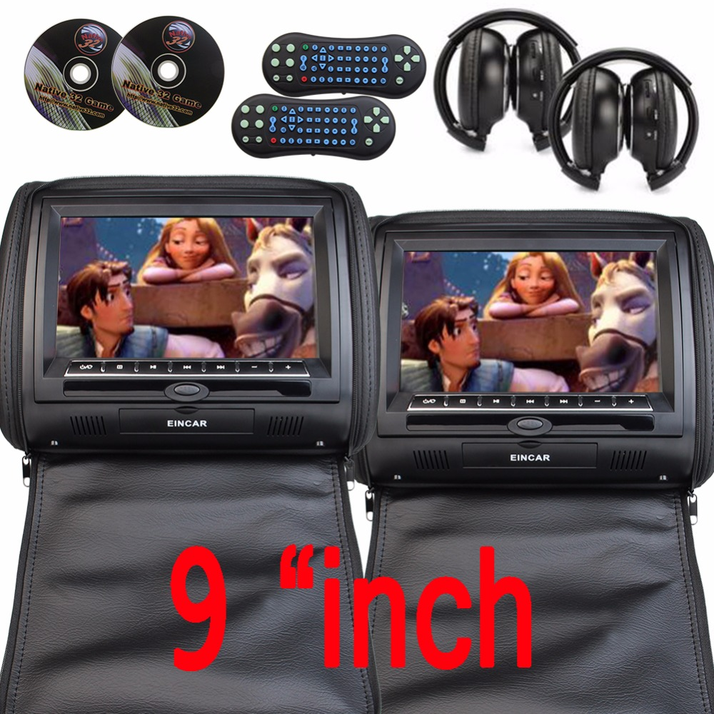 9 inch Car Headrest DVD Player pillow Universal Digital Screen zipper Car Monitor USB FM TV Game IR Remote free two headphones eincar car 9 inch car dvd pillow headrest two monitor lcd screen usb sd 32 bit game fm ir multimedia player free 2 ir headphones