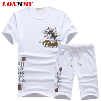LONMMY M 5XL T Shirts Men Cotton Tracksuits Short Sleeves Sweat Suits Fashion T Shirt Shorts