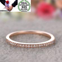 OMHXZJ Wholesale European Fashion Woman Girl Party Wedding Gift  AAA Zircon 925 Sterling Silver 18KT Yellow Rose Gold Ring RR357 цена и фото