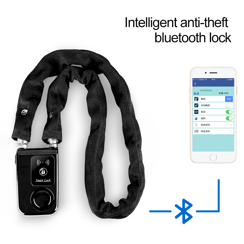 Bicycle Lock  Smart Control Super Smartphone Bluetooth Steel Chain lock Waterproof Anti theft Alarm Bike Bicycle Lock 2016 orange manual and automatic bluetooth smart window lock bicycle lock luggage lock stainless steel padlock hot sale
