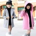 Девушки Зимние Пальто Шерсти Детей Clothing Куртка С Капюшоном Девушки Одежды Траншеи Пальто Верхняя Одежда 3-15 Возраст Детей Одежда для девушки