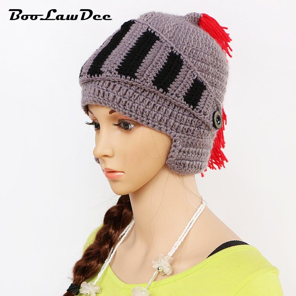 BooLawDee men and women handwork crochet watch cap Winter Roman horseman  tassel beanies soft warm moustache hat funny M098 45e07022942